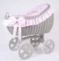 MJ Mark Bianca Quattro Grey Crib - Heart Wheels