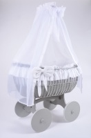 MJ Mark Ophelia Quattro Grey Crib - Solid Wheels
