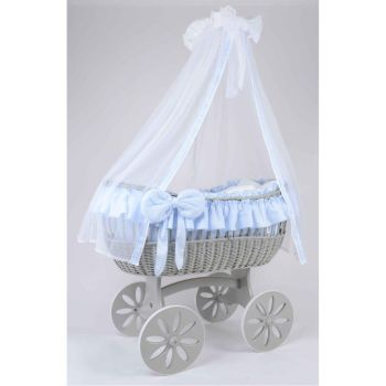 MJ Mark Ophelia Quattro Grey Crib - Spoke Wheels
