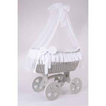MJ Mark Ophelia Quattro Grey Crib - Heart Wheels
