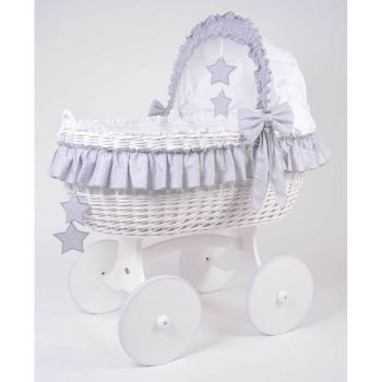 Mj Mark Cloud Due White Crib Grey Stars - Solid Wheels