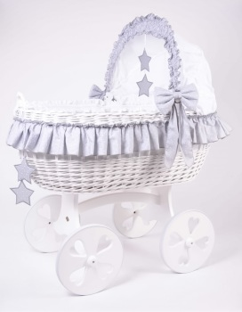 Mj Mark Cloud Due White Crib Grey Stars - Heart Wheels