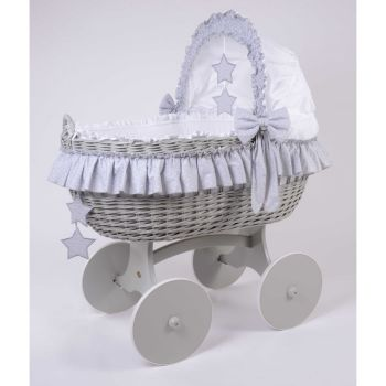 Mj Mark Cloud Quattro Grey Crib Grey Stars - Solid Wheels