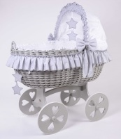 Mj Mark Cloud Quattro Grey Crib Grey Stars - Heart Wheels