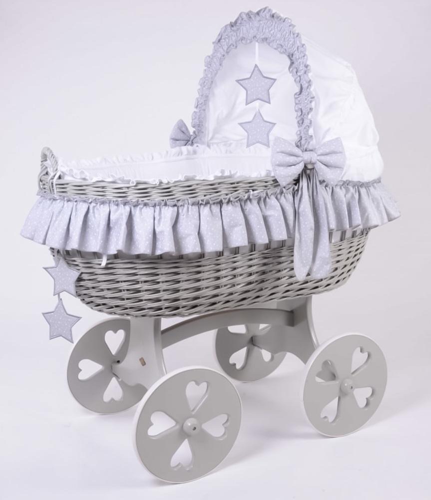 Mj Mark Cloud Quattro Grey Crib Grey Stars - Heart Wheels