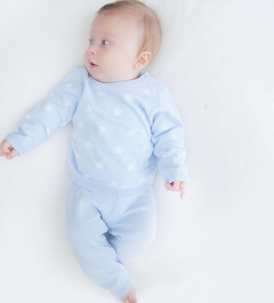 Little Star Knitted Set - Blue