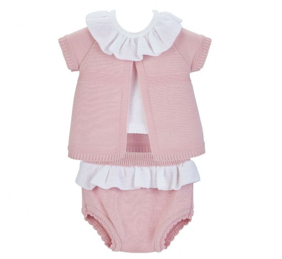 Frill Neck Fine Knit Set - Rose