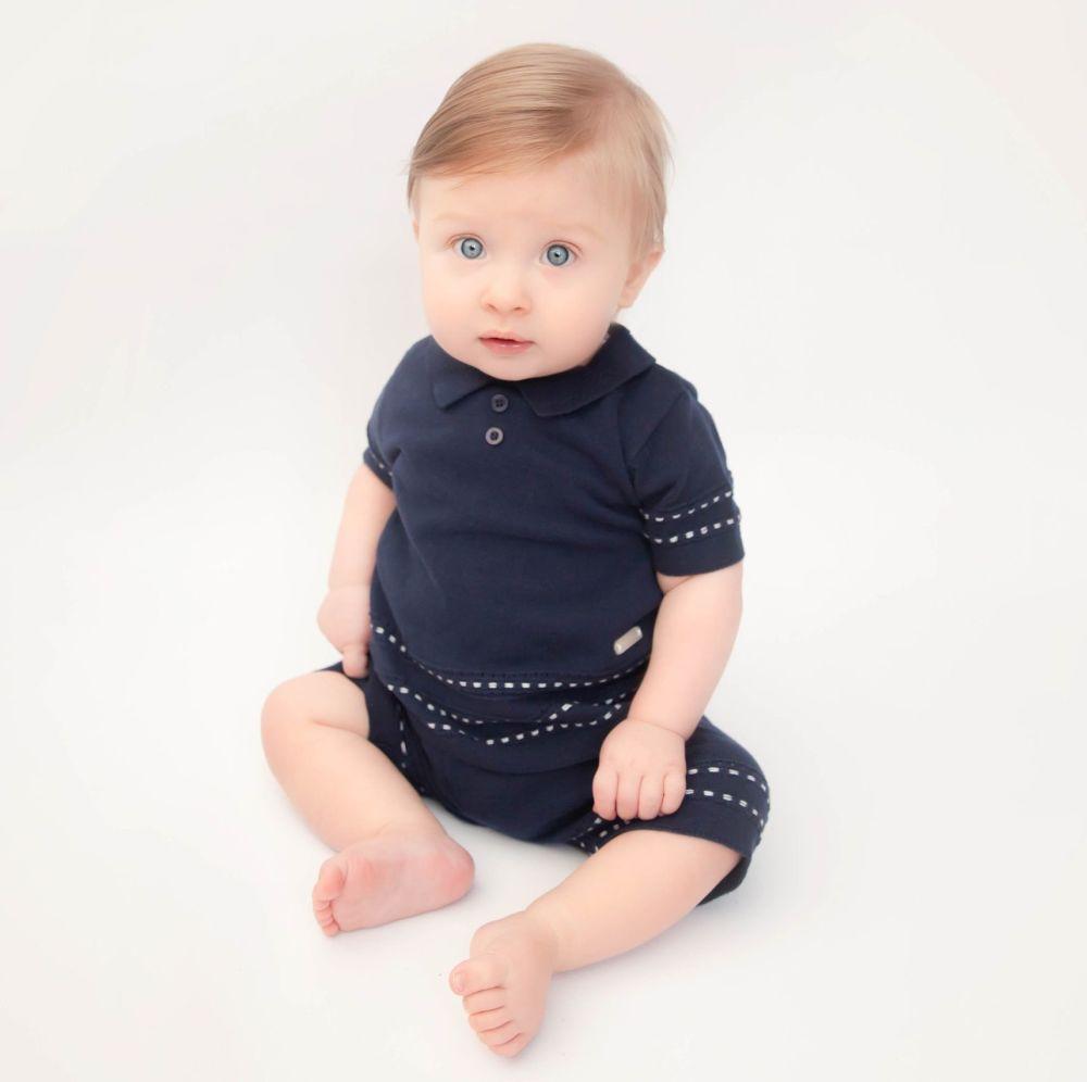 Watson Knitted Polo Shorts Set - Navy