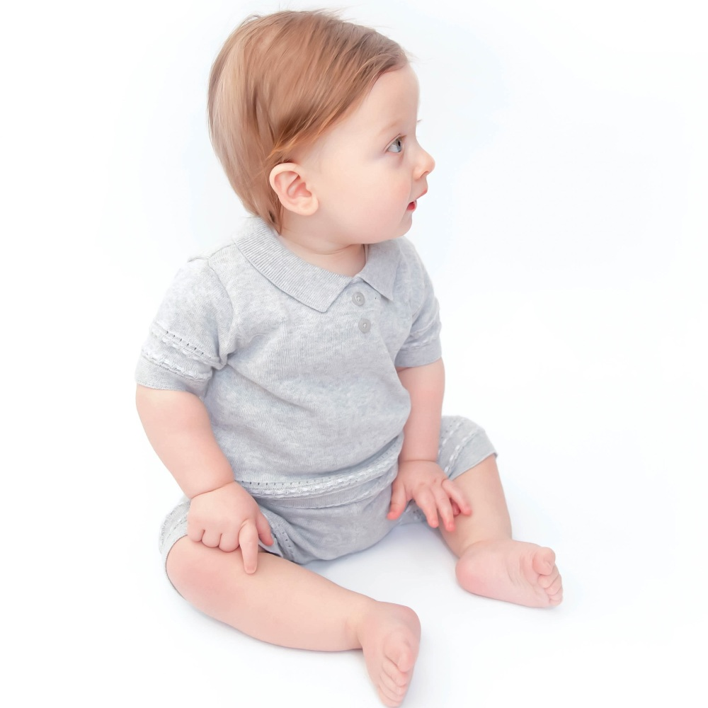 Watson Knitted Polo Shorts Set - Grey