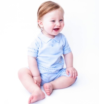 Watson Knitted Polo Shorts Set - Blue