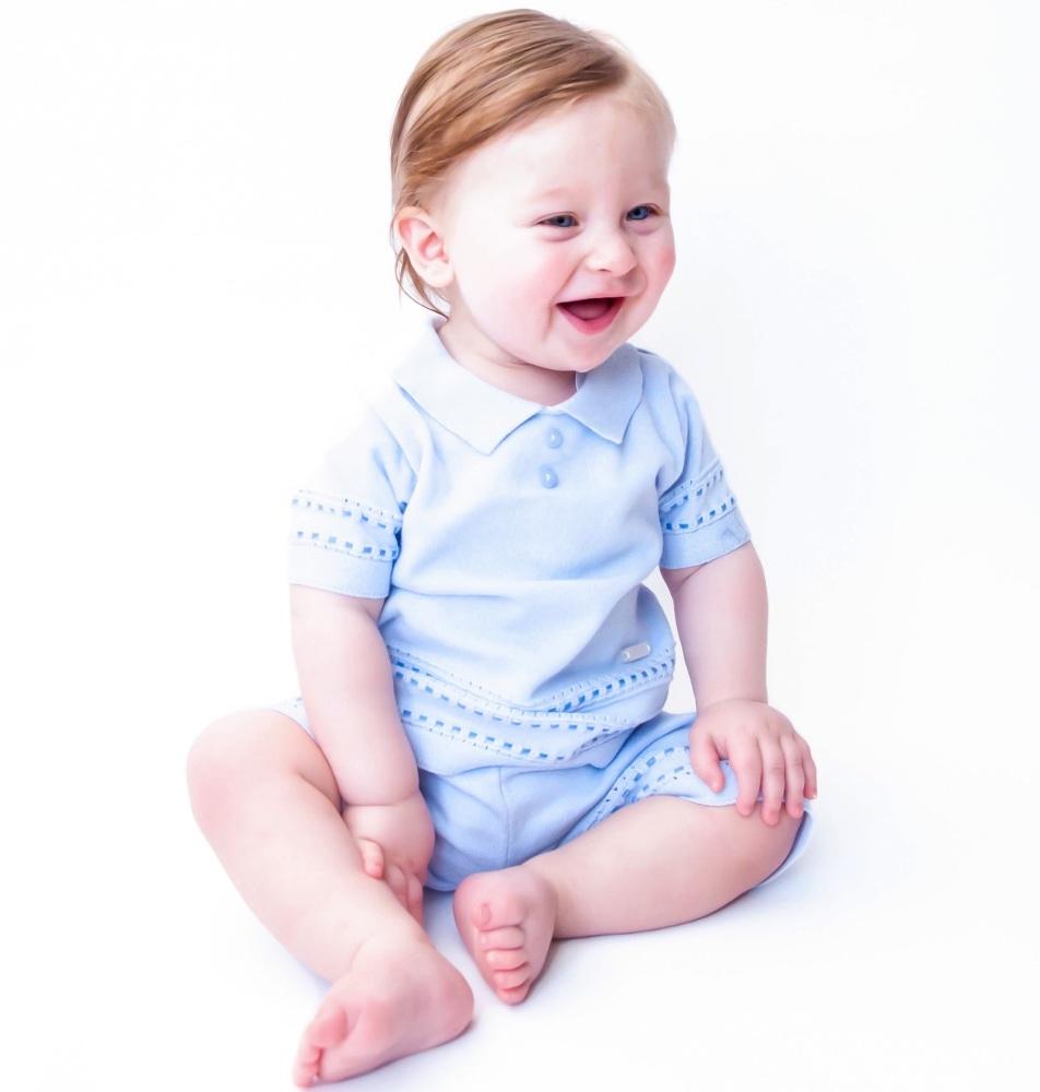 Watson Knitted Polo Shorts Set - Blue
