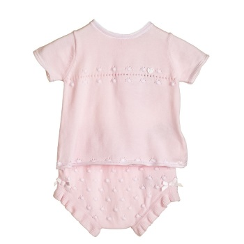 Penelope Knitted Top & Pants Set - Pink