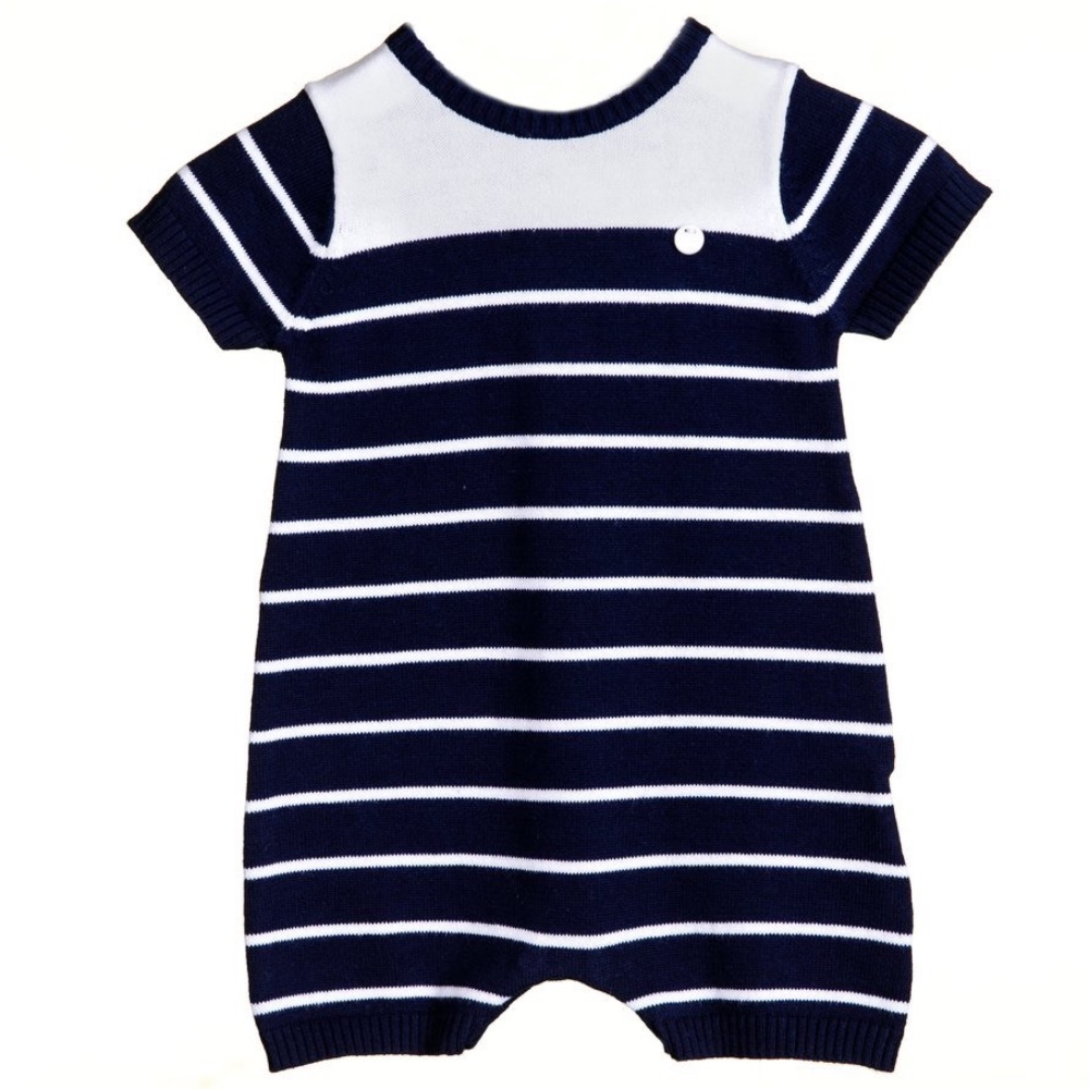 Ethan Knitted Romper - Navy
