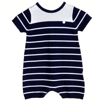 Ethan Stripe Knitted Romper - Navy