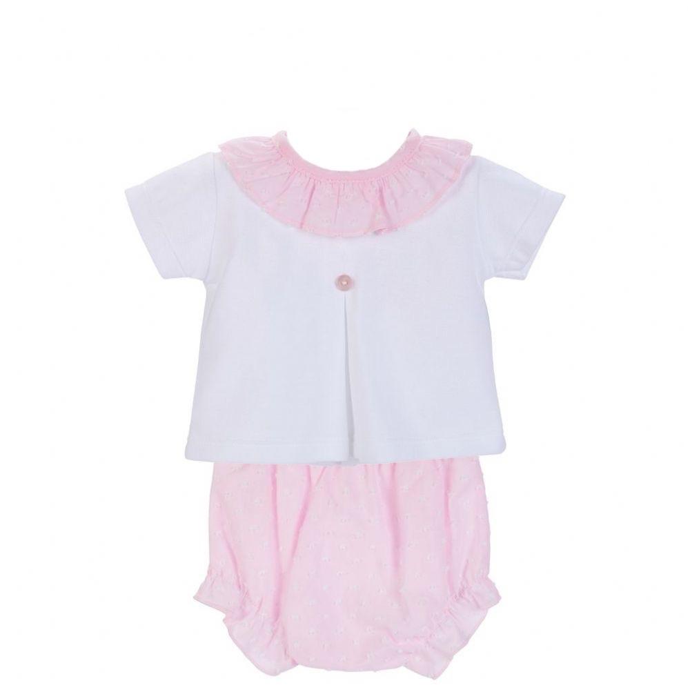 Maya Frill Top & Pants Set - Pink