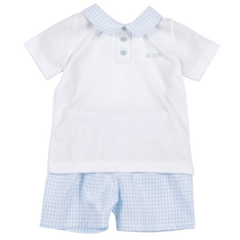 Easton Gingham Polo Set - Blue