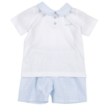 Easton Gingham Polo Set - Blue