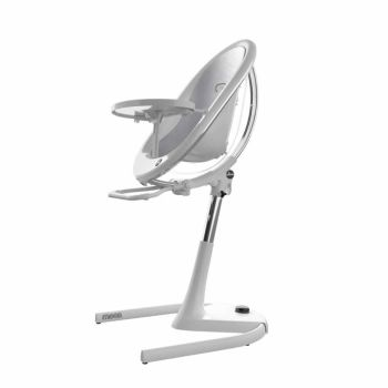 Mima Moon Highchair - White Frame/Silver Seat Pad