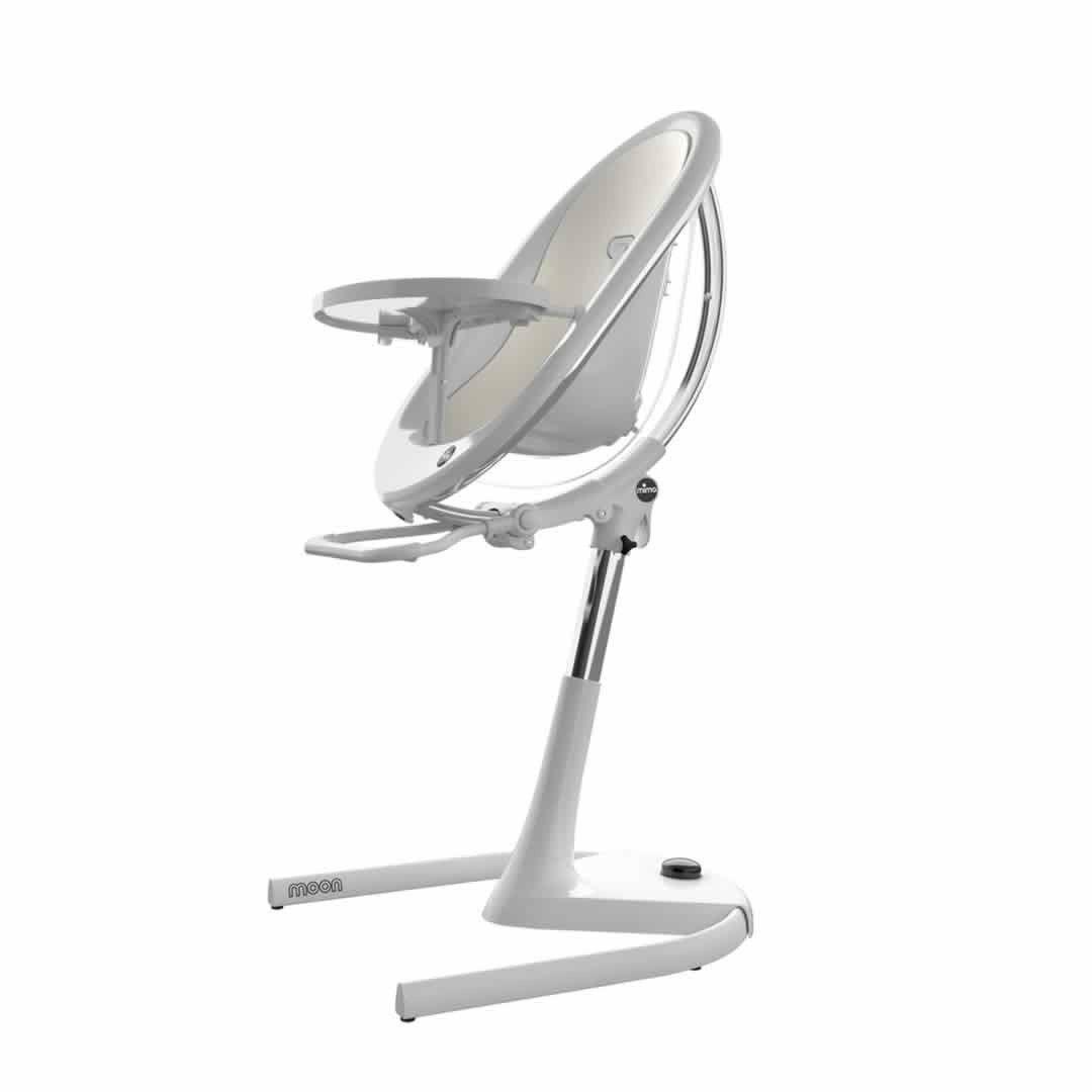 Mima Moon Highchair - White Frame/Snow White Seat Pad