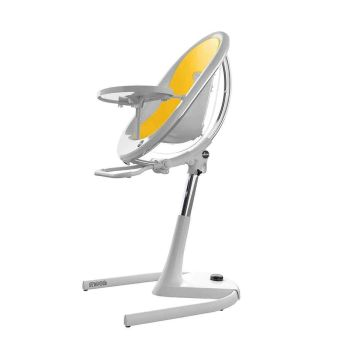 Mima Moon Highchair - White Frame/Yellow Seat Pad
