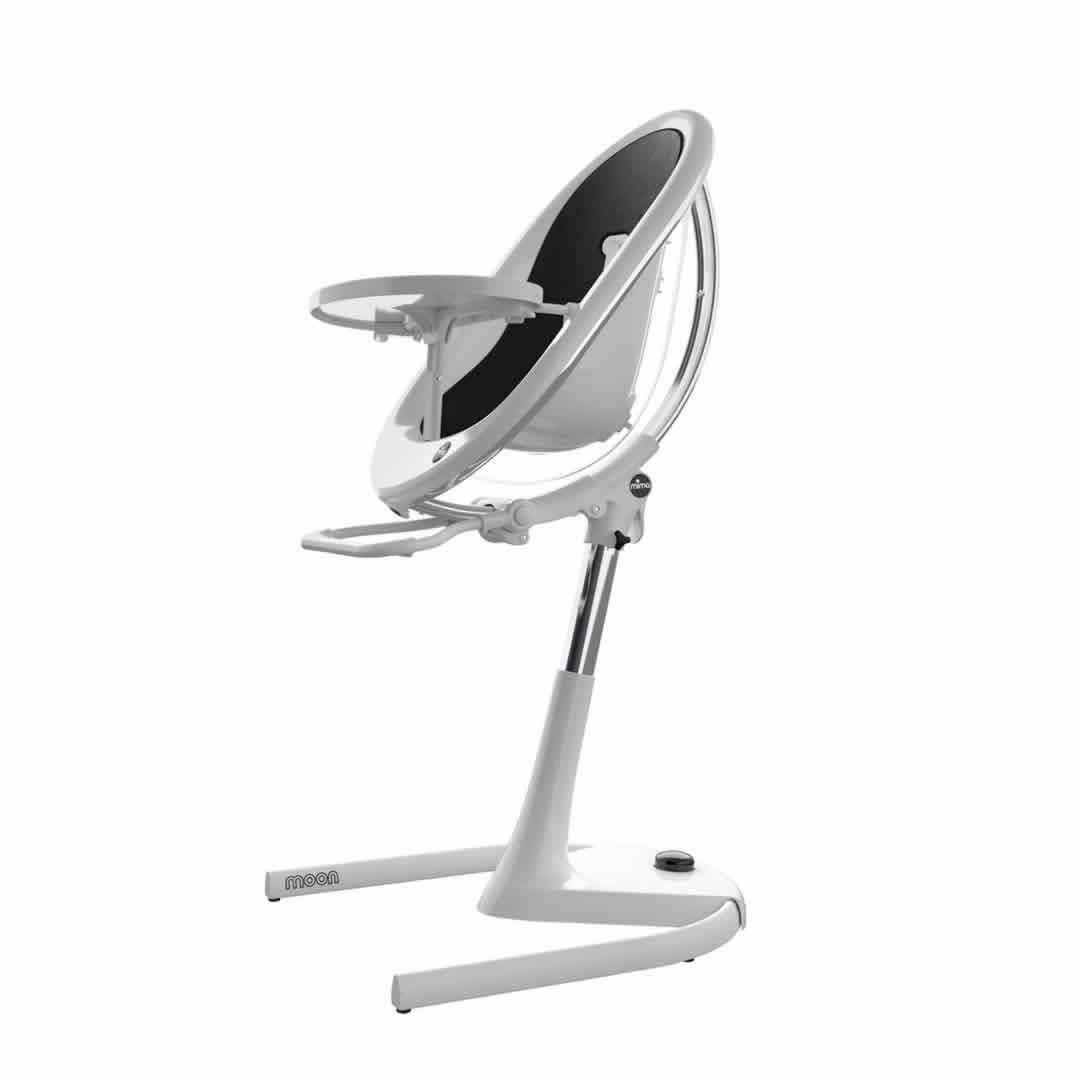 Mima Moon Highchair - White Frame/Black Seat Pad
