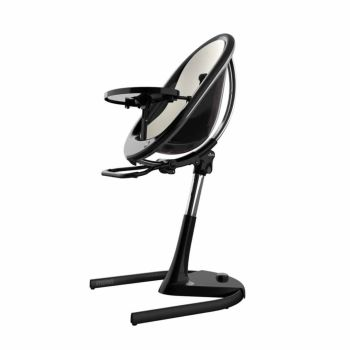 Mima Moon Highchair - Black Frame/Snow White Seat Pad