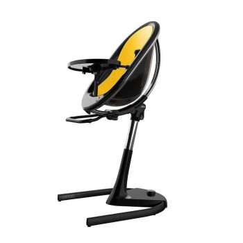 Mima Moon Highchair - Black Frame/Yellow Seat Pad