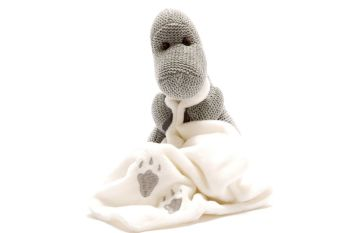 Knitted Baby Dino With Comforter - Grey