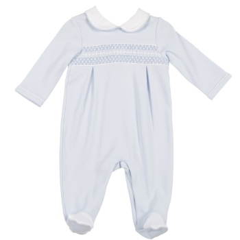 Mintini Baby Smocked Babygrow - Blue