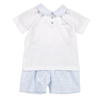Mintini Baby Gingham Polo & Shorts - Blue