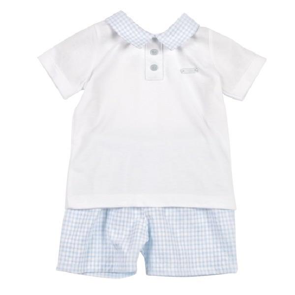 Mintini Baby Gingham Polo & Shorts - Blue