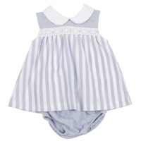 Mintini Baby Striped Polo Dress & Pants - Blue