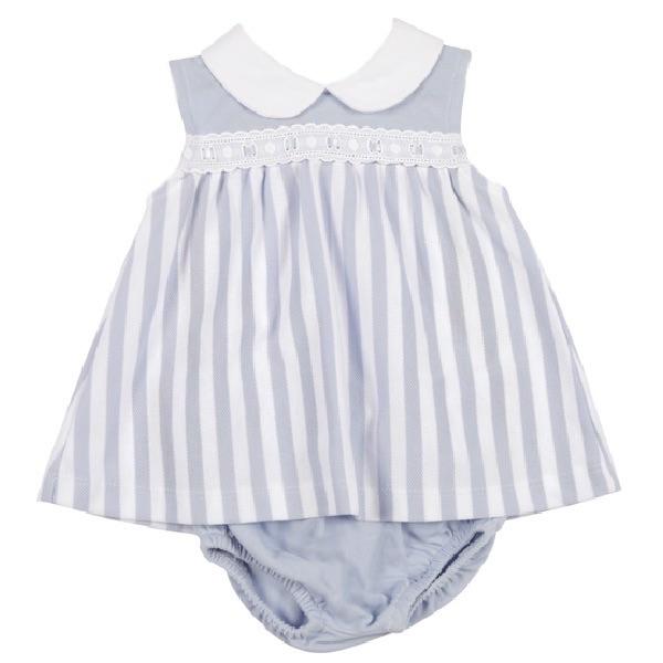 Mintini Baby Striped Polo Dress & Pants - Blue