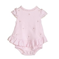 Blues Baby Daisy Frill Romper - Pink
