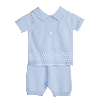 Blues Baby Miller Knitted Polo Shorts Set - Blue