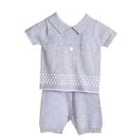 Blues Baby Miller Knitted Polo Shorts Set - Grey