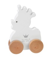 BAM BAM Baby Wooden Duck On Wheels - White