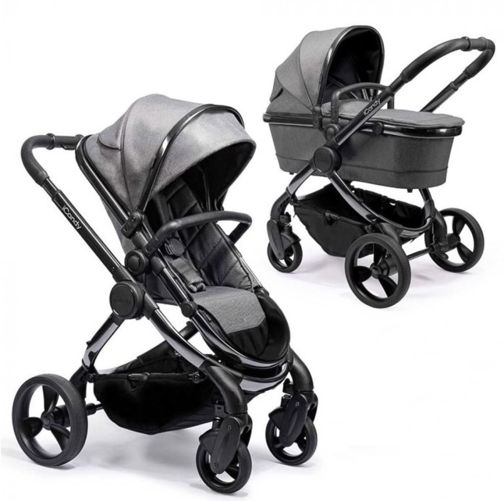 iCandy Peach 2020 Pushchair + Carrycot - Phantom Dark Grey Twill