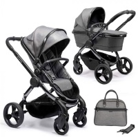 iCandy Peach 2020 Pushchair + Carrycot with Bag - Phantom Dark Grey Twill