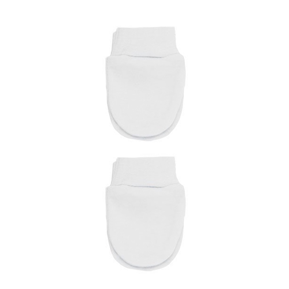 Cotton Anti-Scratch Mittens - White