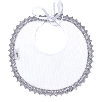 Babidu Cotton Bib - White/Grey