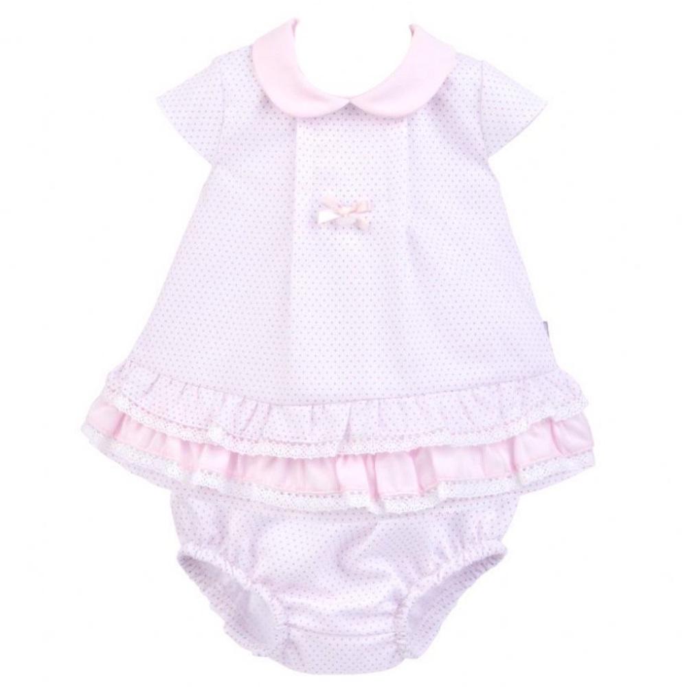 Gracie Pique Dress & Pants - White/Pink Polka