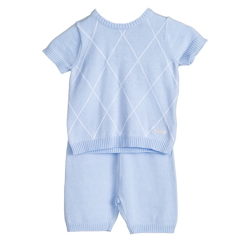 Blues Baby Aiden Knitted Top & Shorts Set - Blue