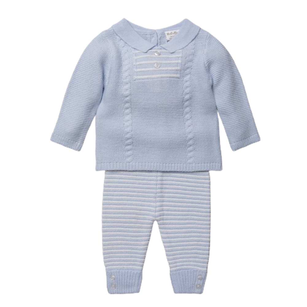Oscar Knitted Jumper & Pants Set - Blue