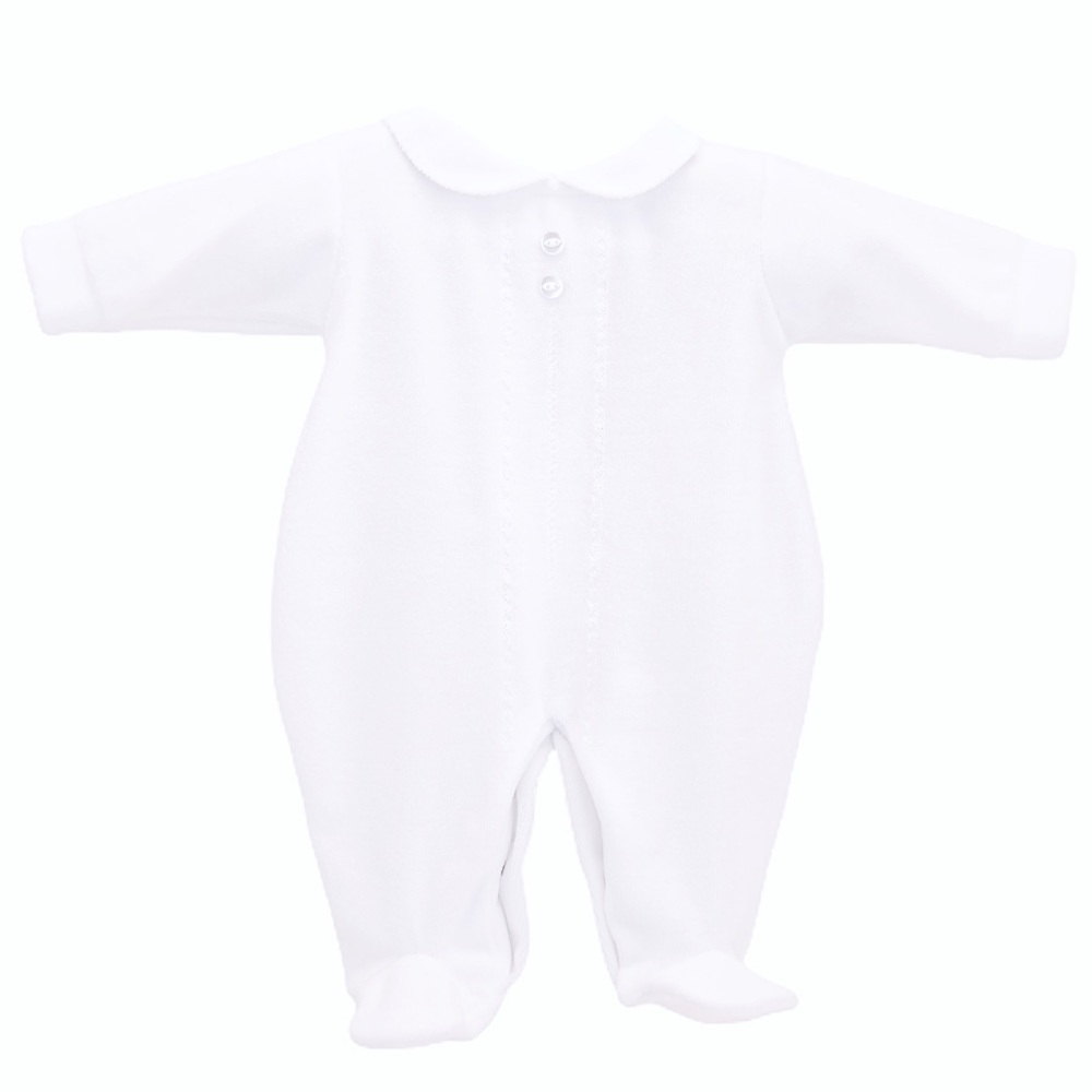Classic Velour Sleepsuit - White