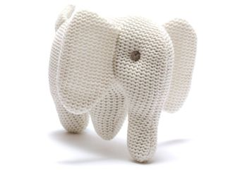 Organic Knitted Elephant Rattle - White