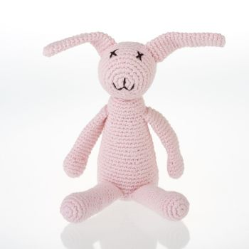 Crochet Bunny Rattle Toy - Pink