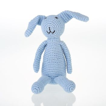 Crochet Bunny Rattle Toy - Blue