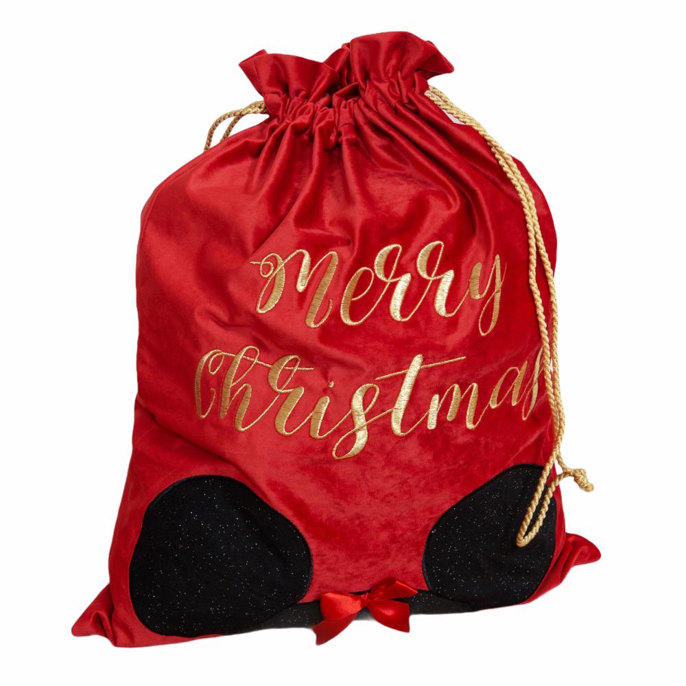 Luxury Red Velvet Disney Christmas Gift Sack - Minnie