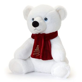 Keel Eco Festive Polar Bear With Scarf Plush Toy 20cm